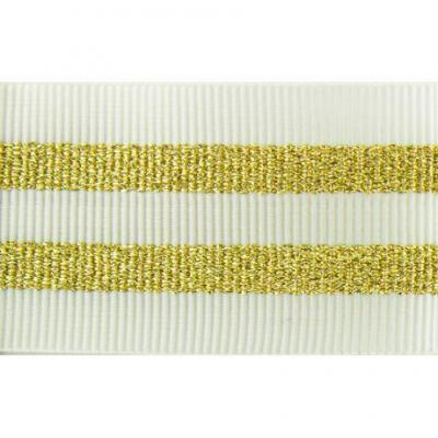 Gros Grain BLANC Silky rayures dorées 2,5 cm.