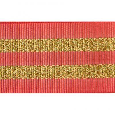 Gros Grain CORAIL Silky rayures dorées 2,5 cm.