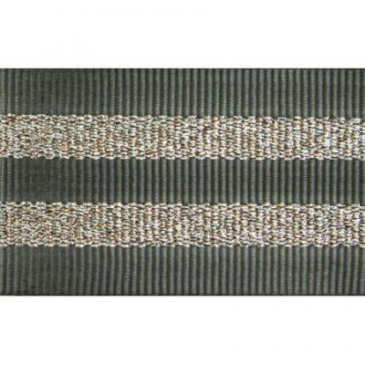 Gros Grain GRIS Silky rayures dorées 2,5 cm.