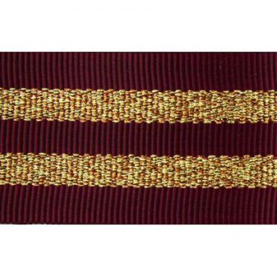 Gros Grain BORDEAUX Silky rayures dorées 2,5 cm.