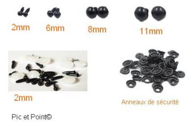 Yeux sécurité ronds noir Réf.Y1 ou Y2 ou Y3 ou Y4 ou Y13